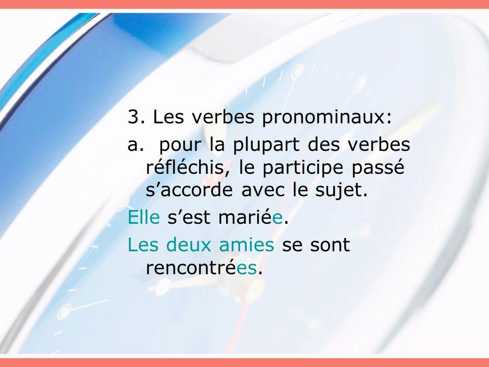 3. Les verbes pronominaux: