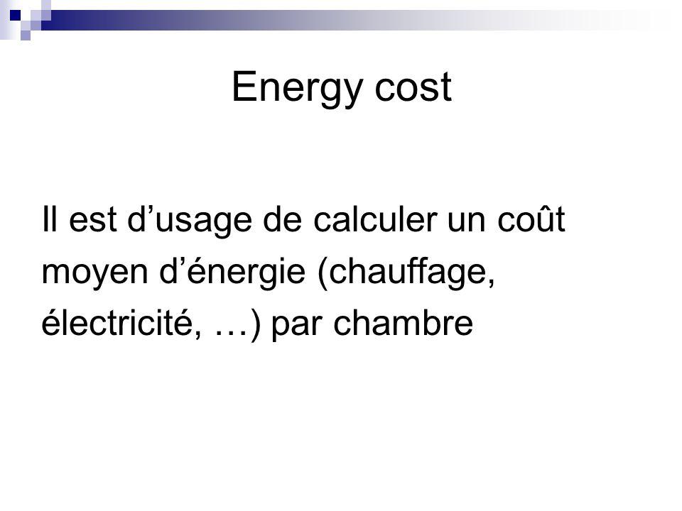 Energy cost Il est d'usage de calculer un coût
