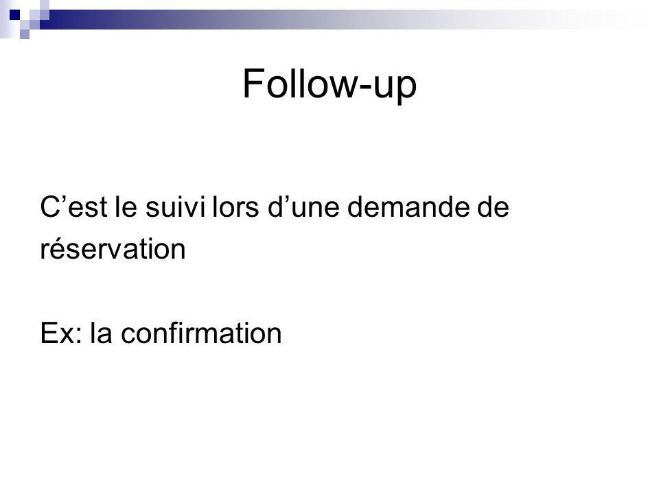 Follow-up C'est le suivi lors d'une demande de réservation