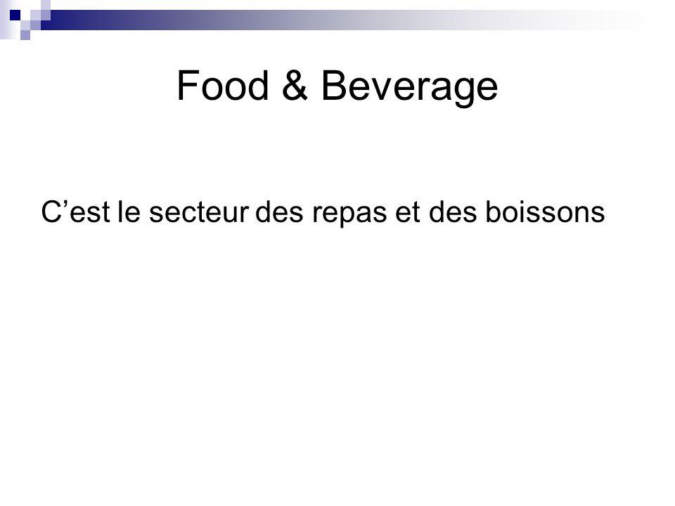 Food & Beverage C'est le secteur des repas et des boissons