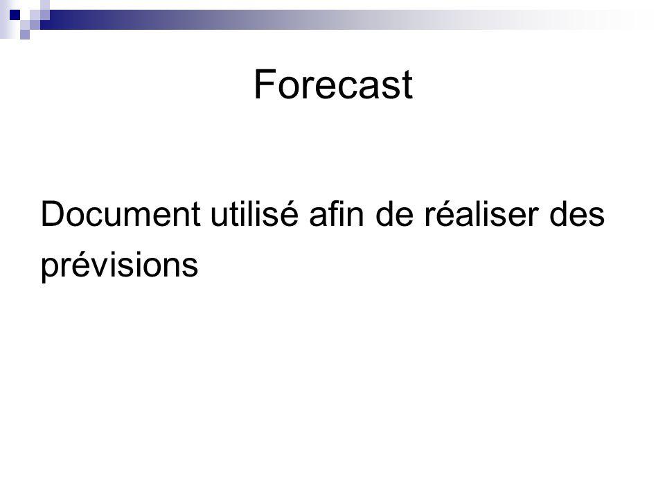 Forecast Document utilisé afin de réaliser des prévisions