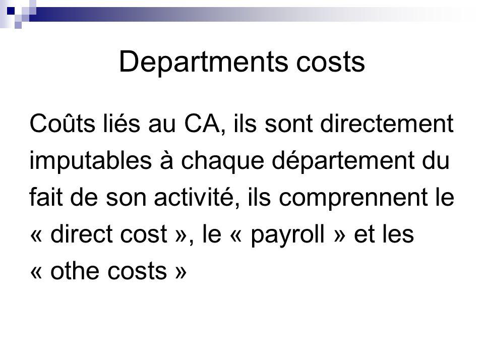 Departments costs Coûts liés au CA, ils sont directement