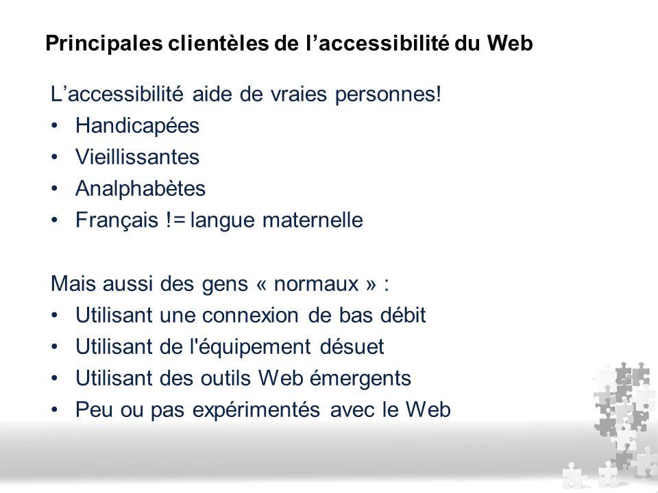 Principales clientèles de l'accessibilité du Web