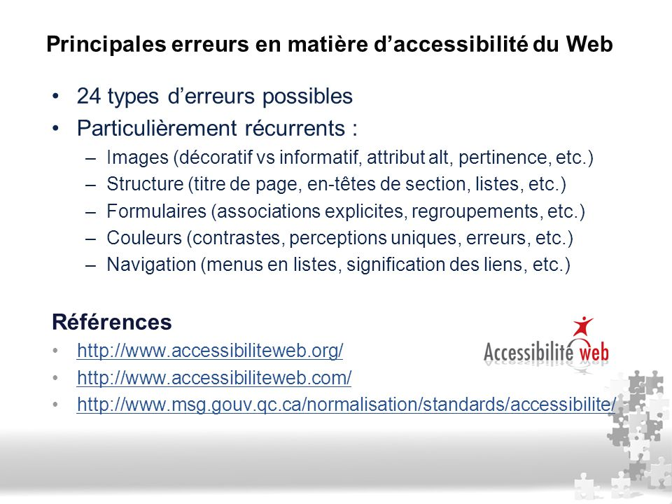 Principales erreurs en matière d'accessibilité du Web