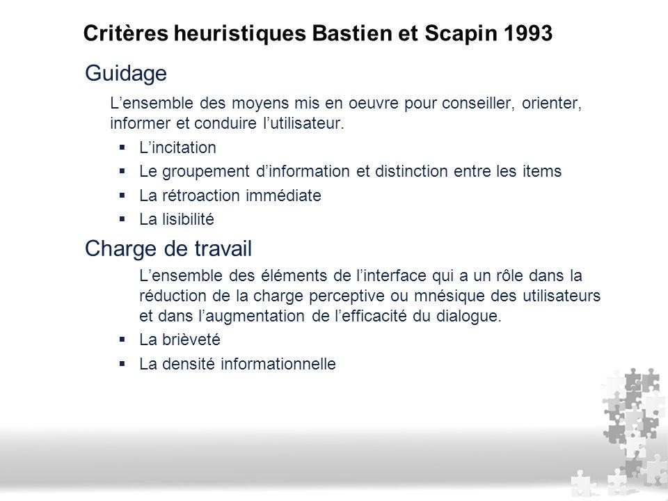Critères heuristiques Bastien et Scapin 1993
