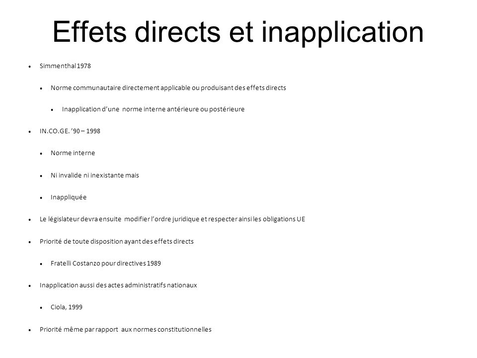 Effets directs et inapplication