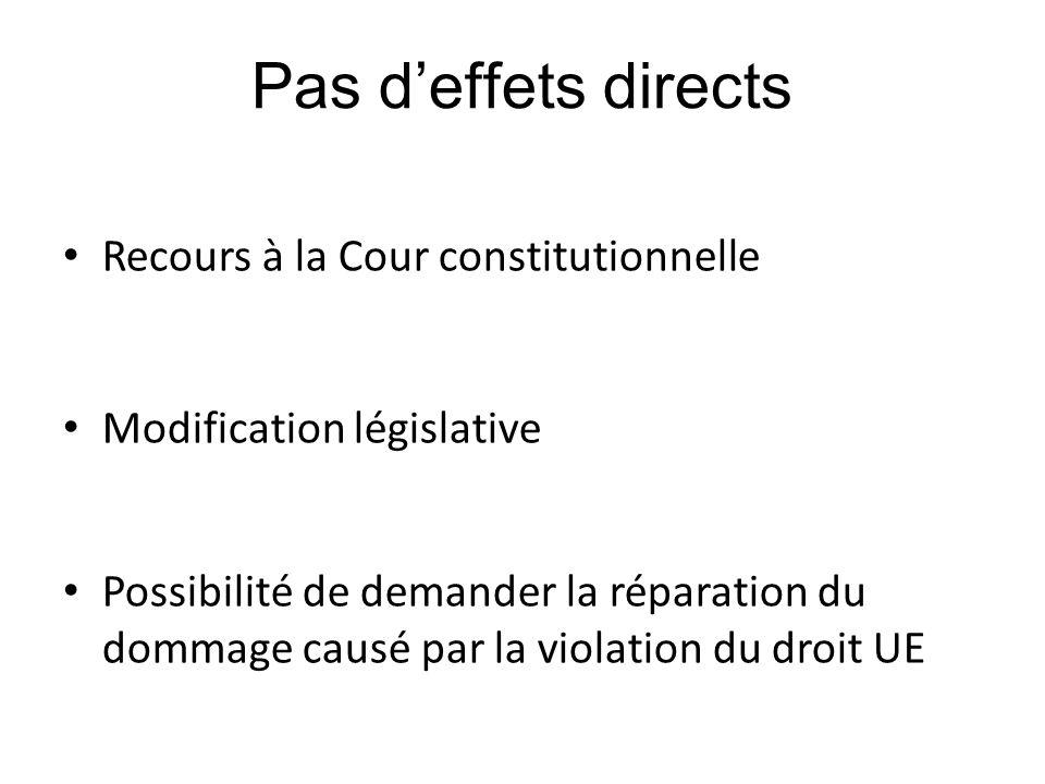 Pas d'effets directs Recours à la Cour constitutionnelle