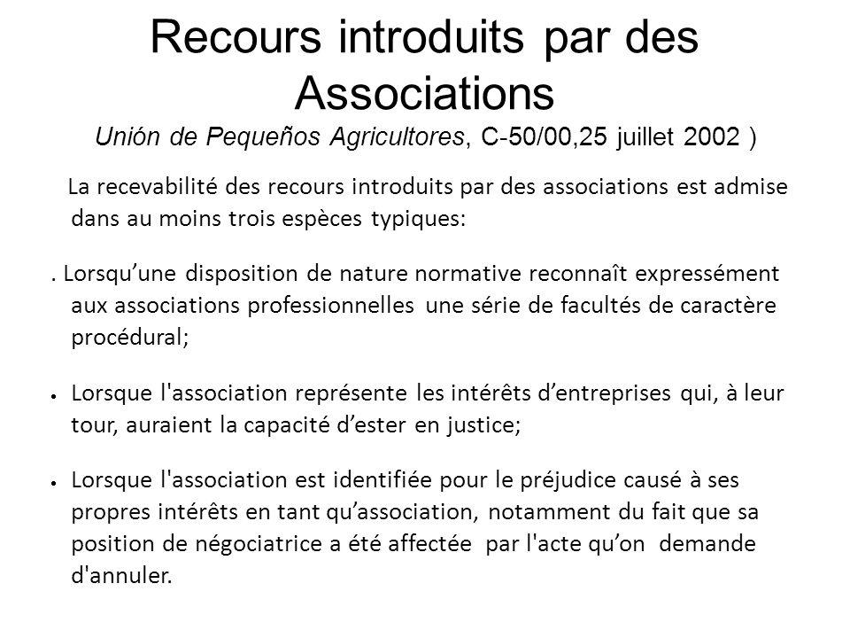 Recours introduits par des Associations Unión de Pequeños Agricultores, C-50/00,25 juillet 2002 )