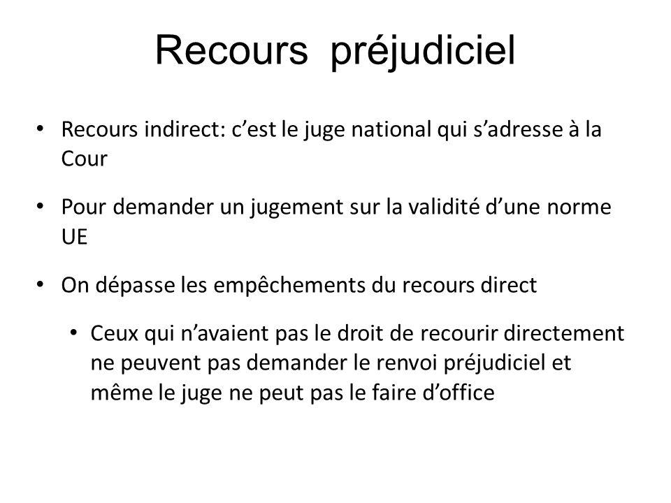 Recours préjudiciel Recours indirect: c'est le juge national qui s'adresse à la Cour. Pour demander un jugement sur la validité d'une norme UE.
