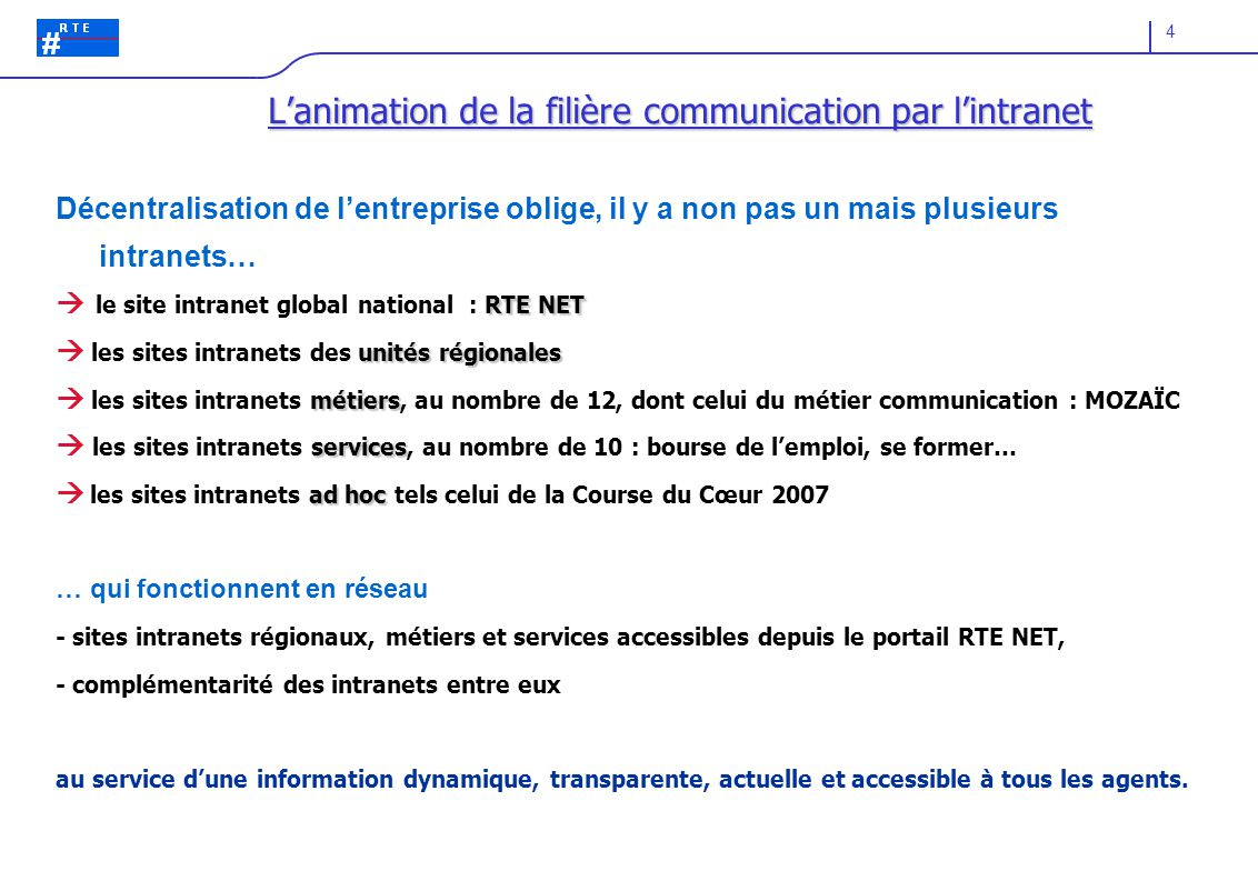 L'animation de la filière communication par l'intranet