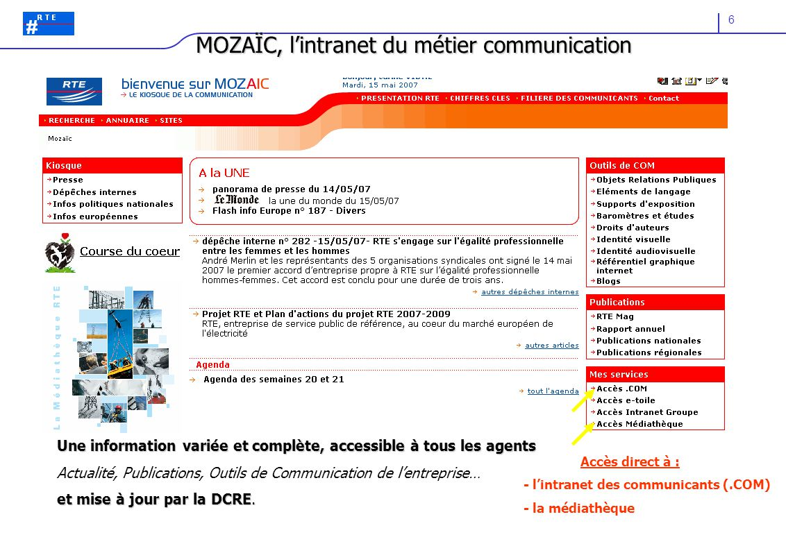 MOZAÏC, l'intranet du métier communication