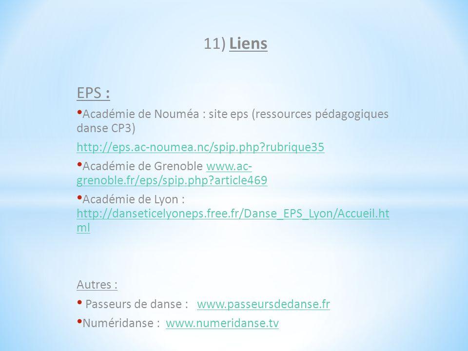 11) Liens EPS : Académie de Nouméa : site eps (ressources pédagogiques danse CP3) http://eps.ac-noumea.nc/spip.php rubrique35.