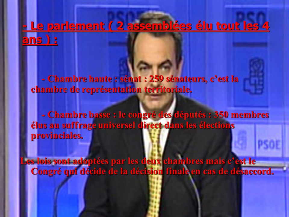 - Le parlement ( 2 assemblées élu tout les 4 ans ) :