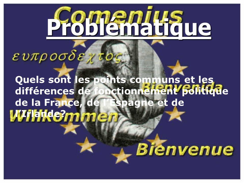 Problématique Quels sont les points communs et les différences de fonctionnement politique de la France, de l'Espagne et de l'Irlande