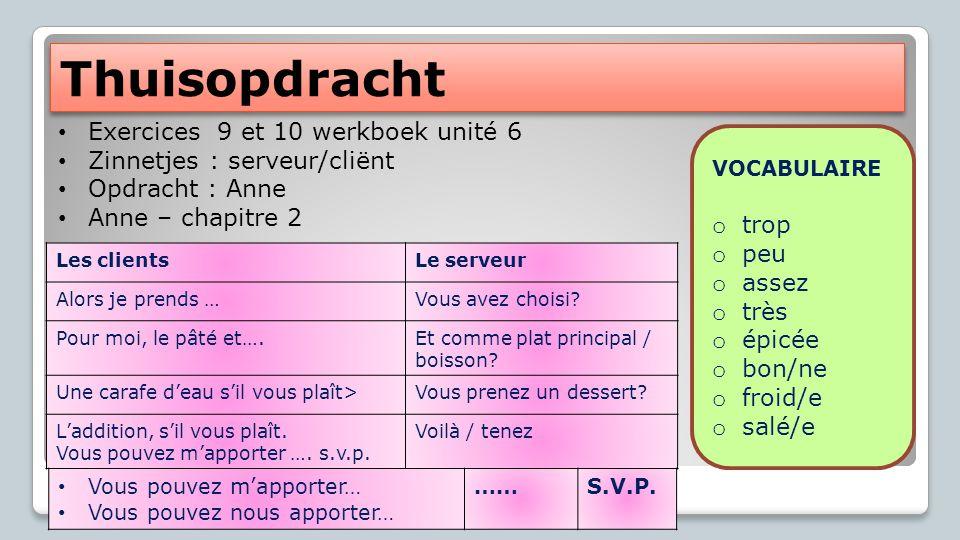 Thuisopdracht Exercices 9 et 10 werkboek unité 6