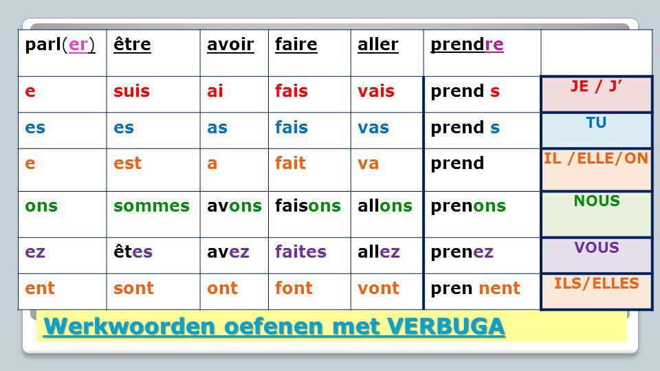Werkwoorden oefenen met VERBUGA