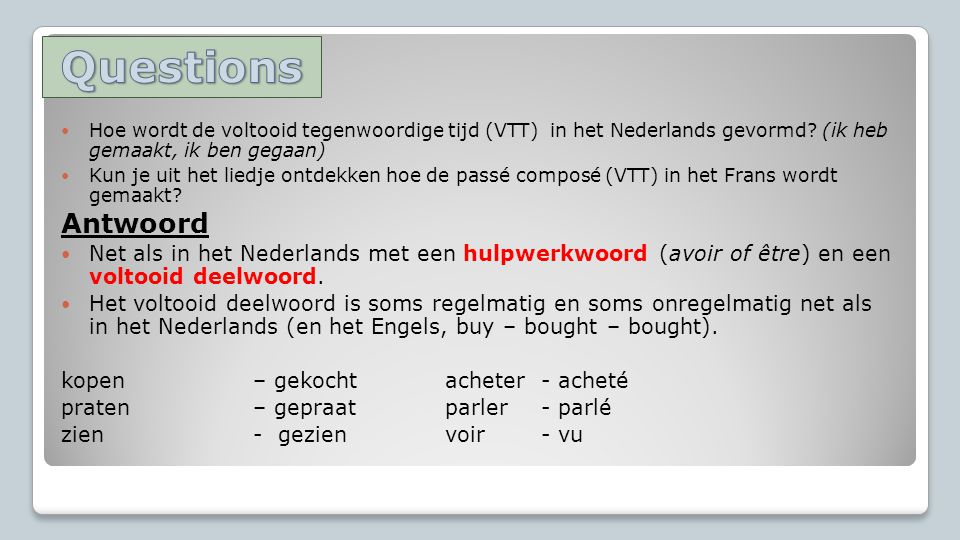 Questions Hoe wordt de voltooid tegenwoordige tijd (VTT) in het Nederlands gevormd (ik heb gemaakt, ik ben gegaan)