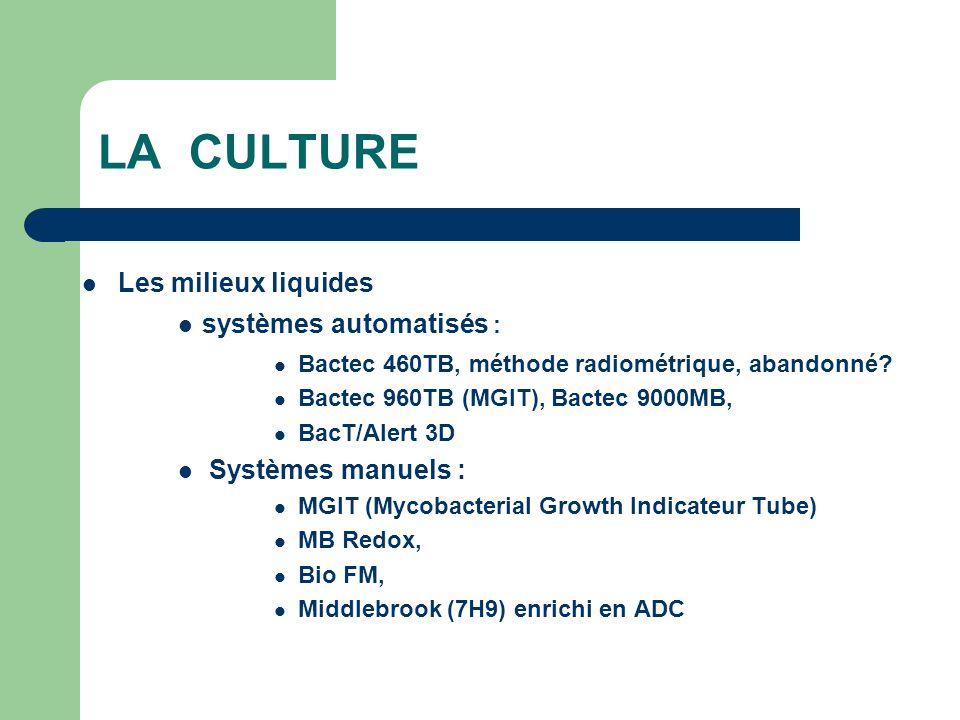 LA CULTURE Les milieux liquides systèmes automatisés :