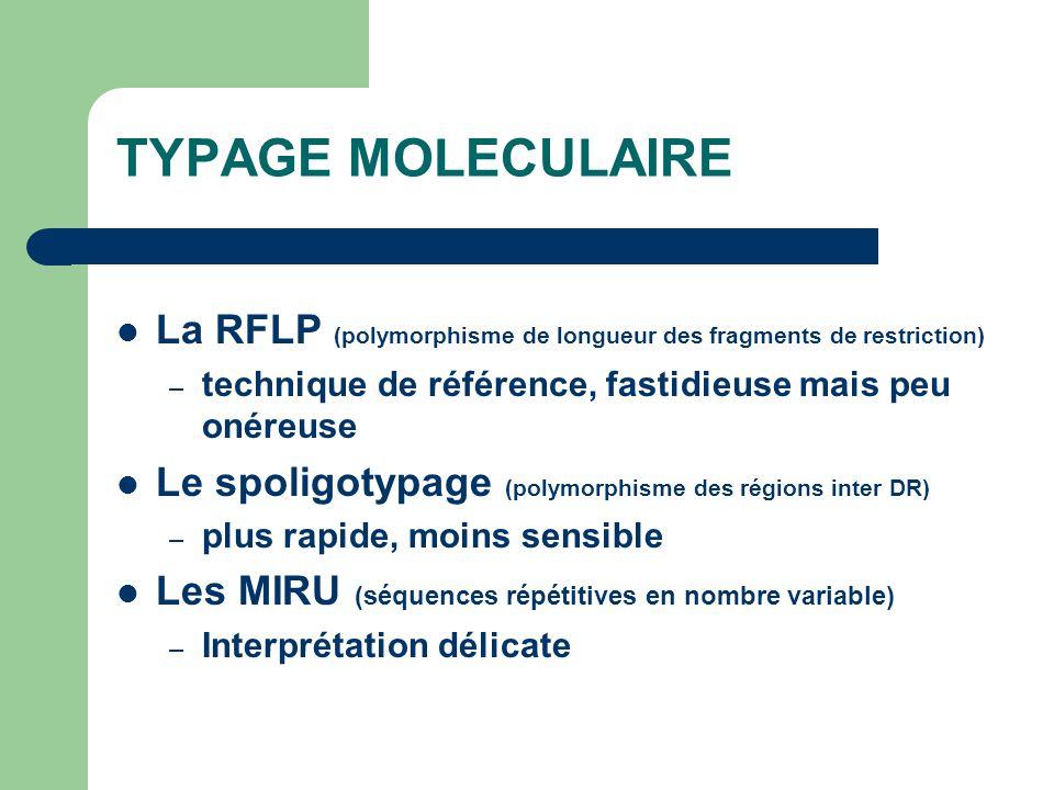 TYPAGE MOLECULAIRE La RFLP (polymorphisme de longueur des fragments de restriction) technique de référence, fastidieuse mais peu onéreuse.