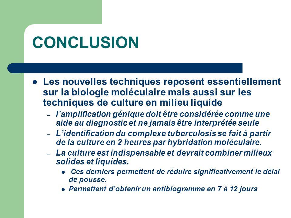 CONCLUSION Les nouvelles techniques reposent essentiellement sur la biologie moléculaire mais aussi sur les techniques de culture en milieu liquide.