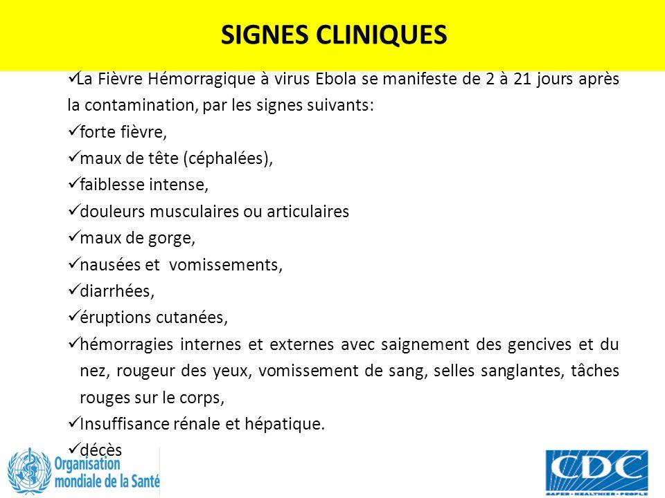 SIGNES CLINIQUES La Fièvre Hémorragique à virus Ebola se manifeste de 2 à 21 jours après la contamination, par les signes suivants: