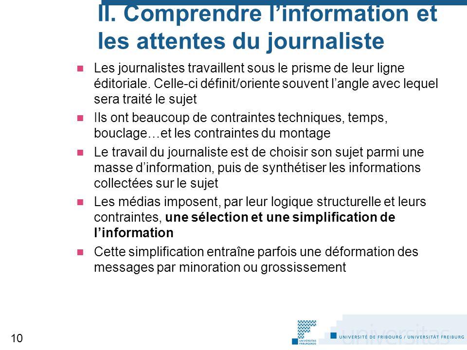 II. Comprendre l'information et les attentes du journaliste
