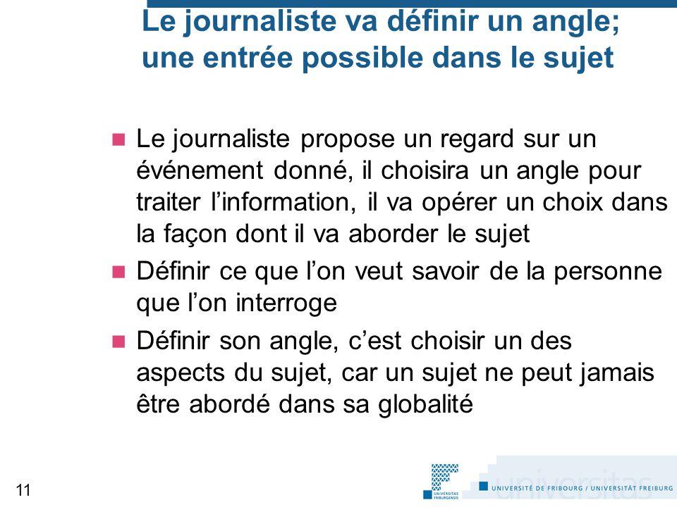 Le journaliste va définir un angle; une entrée possible dans le sujet