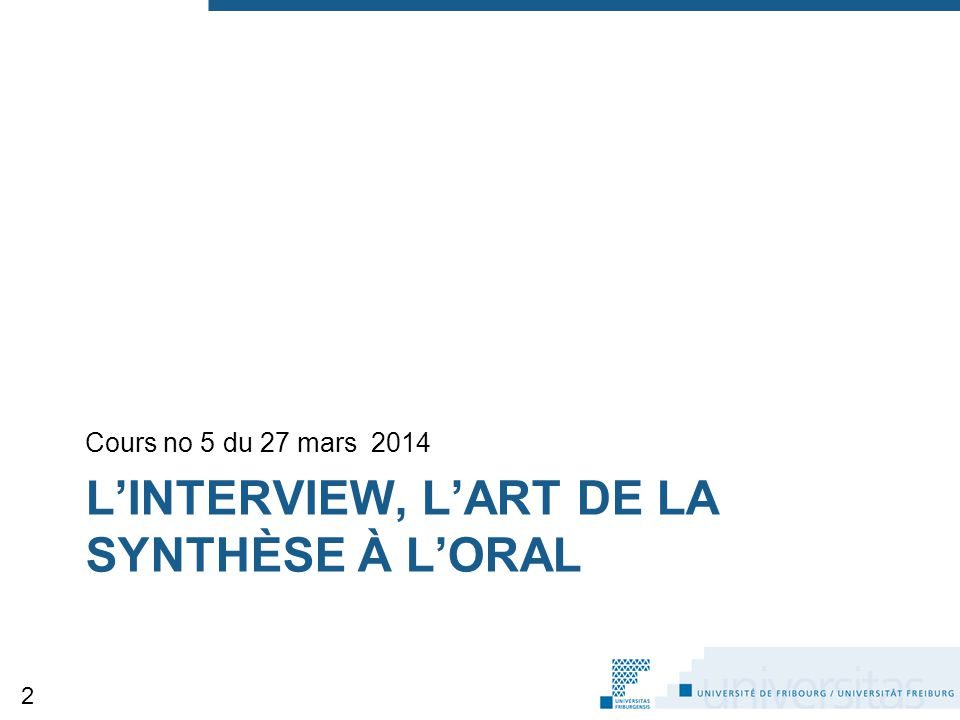 L'interview, l'art de la synthèse à l'oral