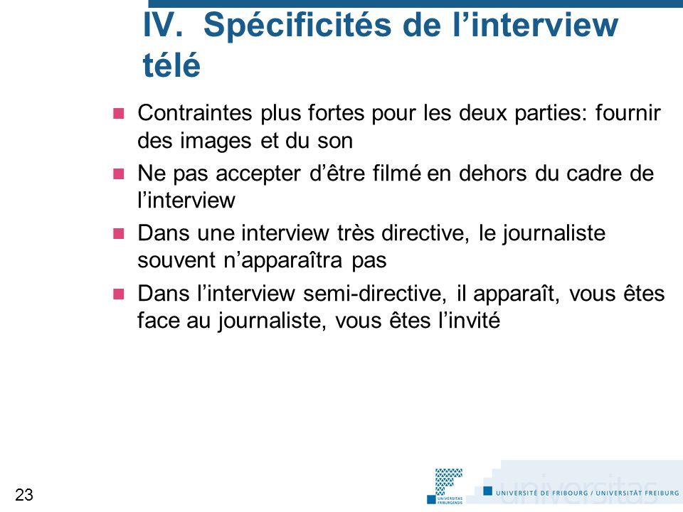 IV. Spécificités de l'interview télé