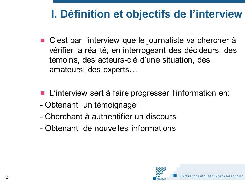 I. Définition et objectifs de l'interview
