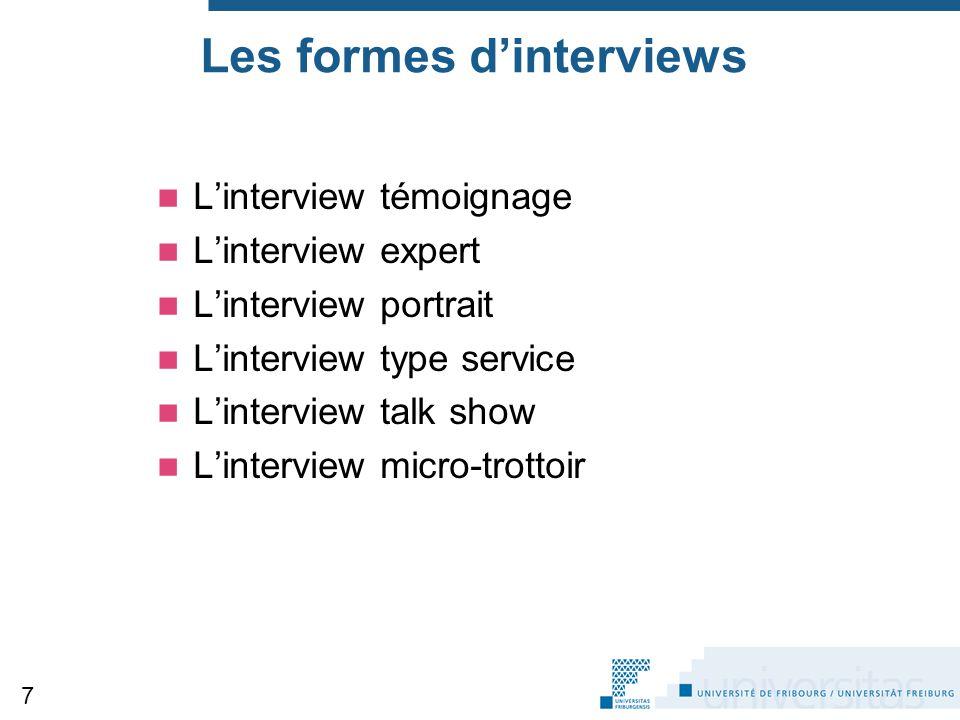 Les formes d'interviews