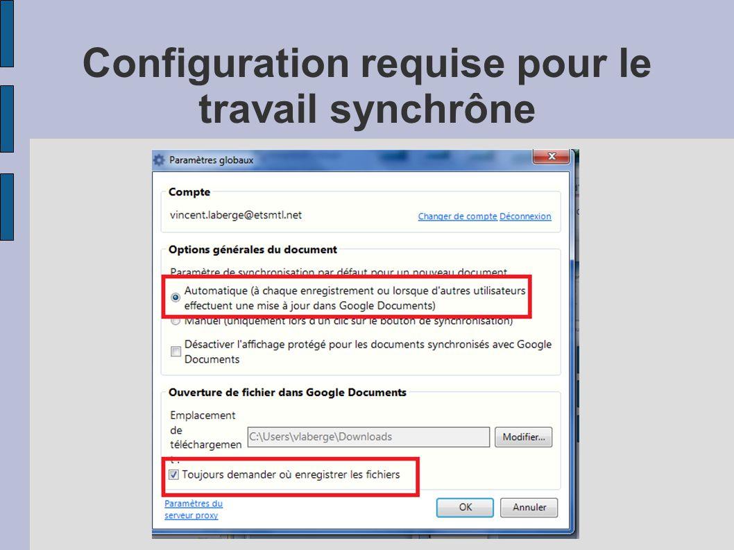Configuration requise pour le travail synchrône