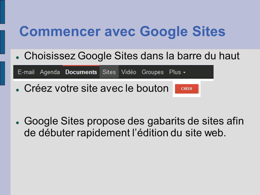 Commencer avec Google Sites