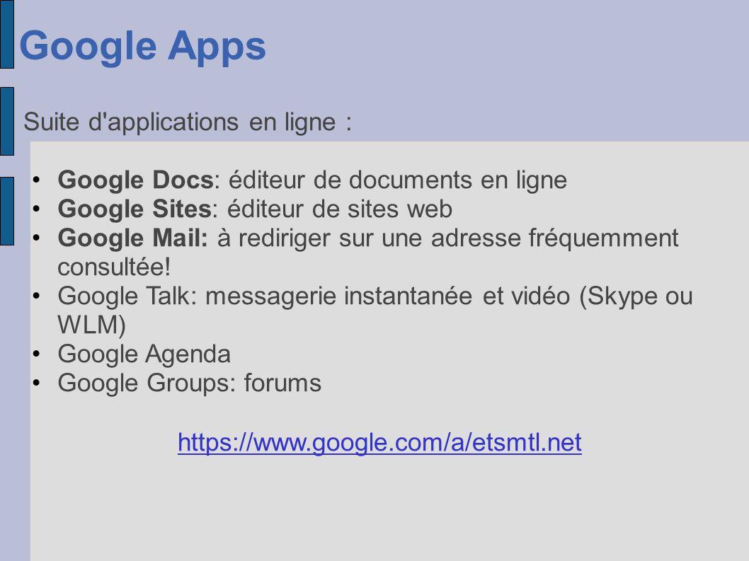 Google Apps Suite d applications en ligne :