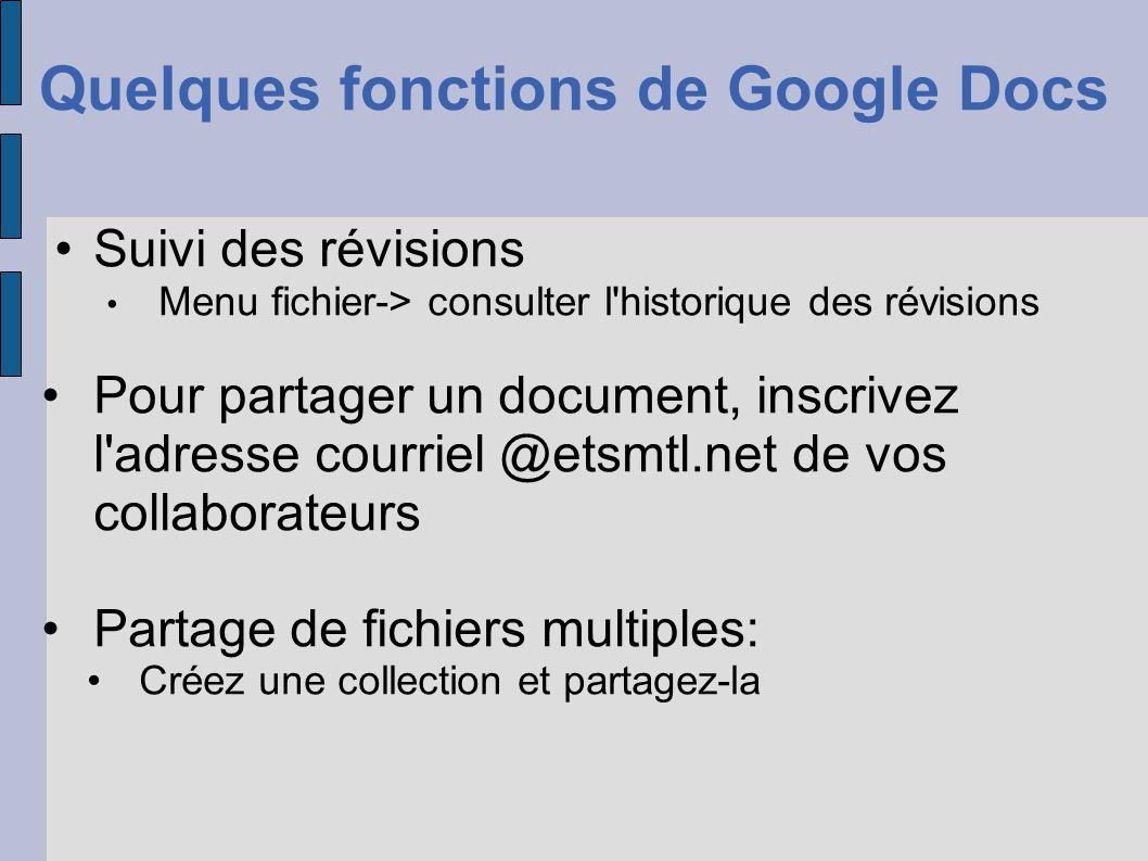 Quelques fonctions de Google Docs