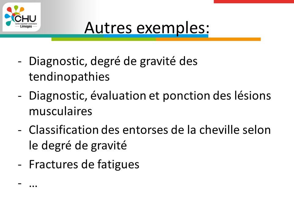 Autres exemples: Diagnostic, degré de gravité des tendinopathies