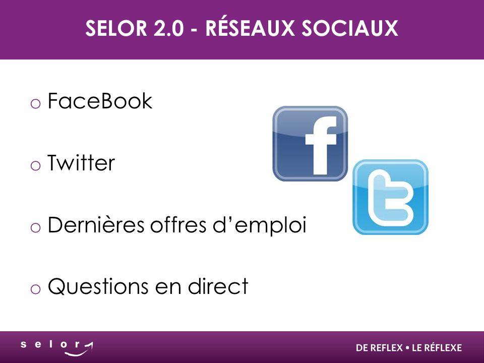 Selor 2.0 - Réseaux sociaux