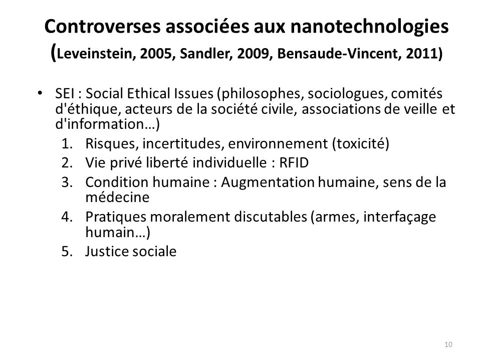 Controverses associées aux nanotechnologies (Leveinstein, 2005, Sandler, 2009, Bensaude-Vincent, 2011)