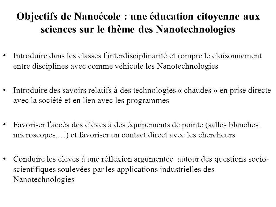Objectifs de Nanoécole : une éducation citoyenne aux sciences sur le thème des Nanotechnologies