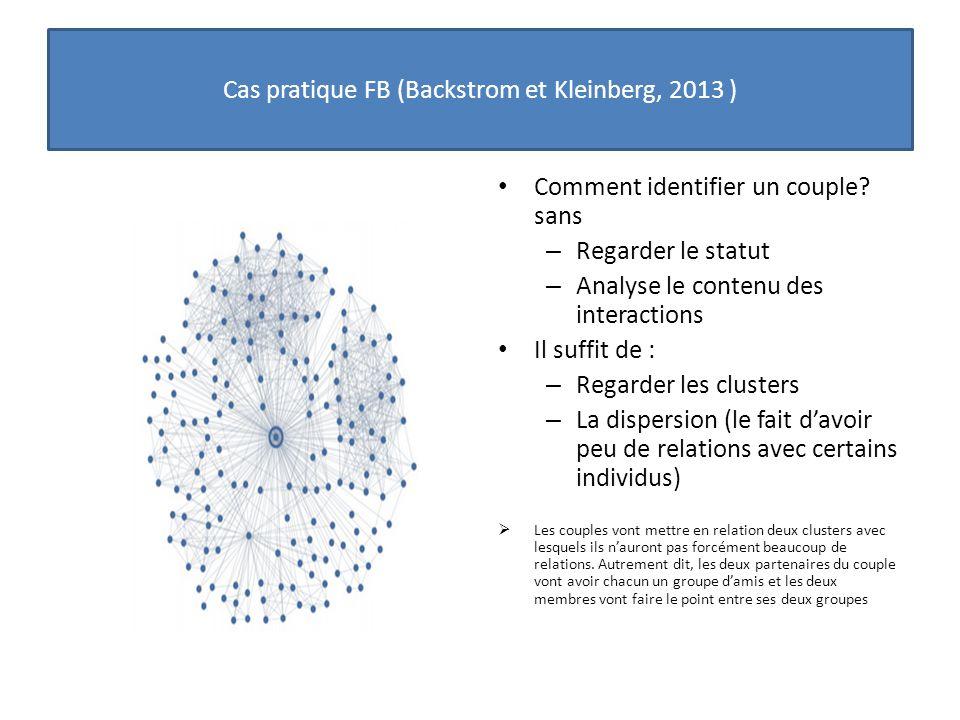 Cas pratique FB (Backstrom et Kleinberg, 2013 )