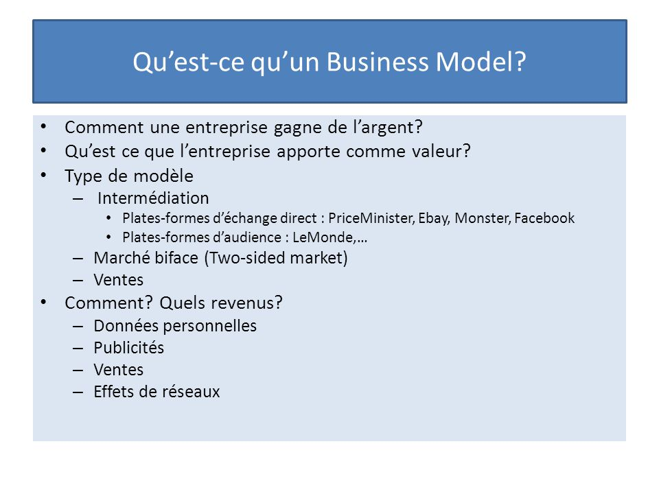 Qu'est-ce qu'un Business Model