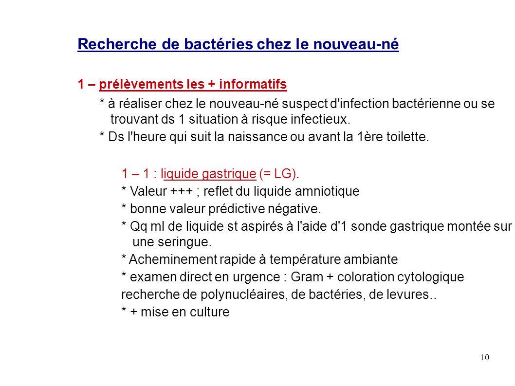 Recherche de bactéries chez le nouveau-né