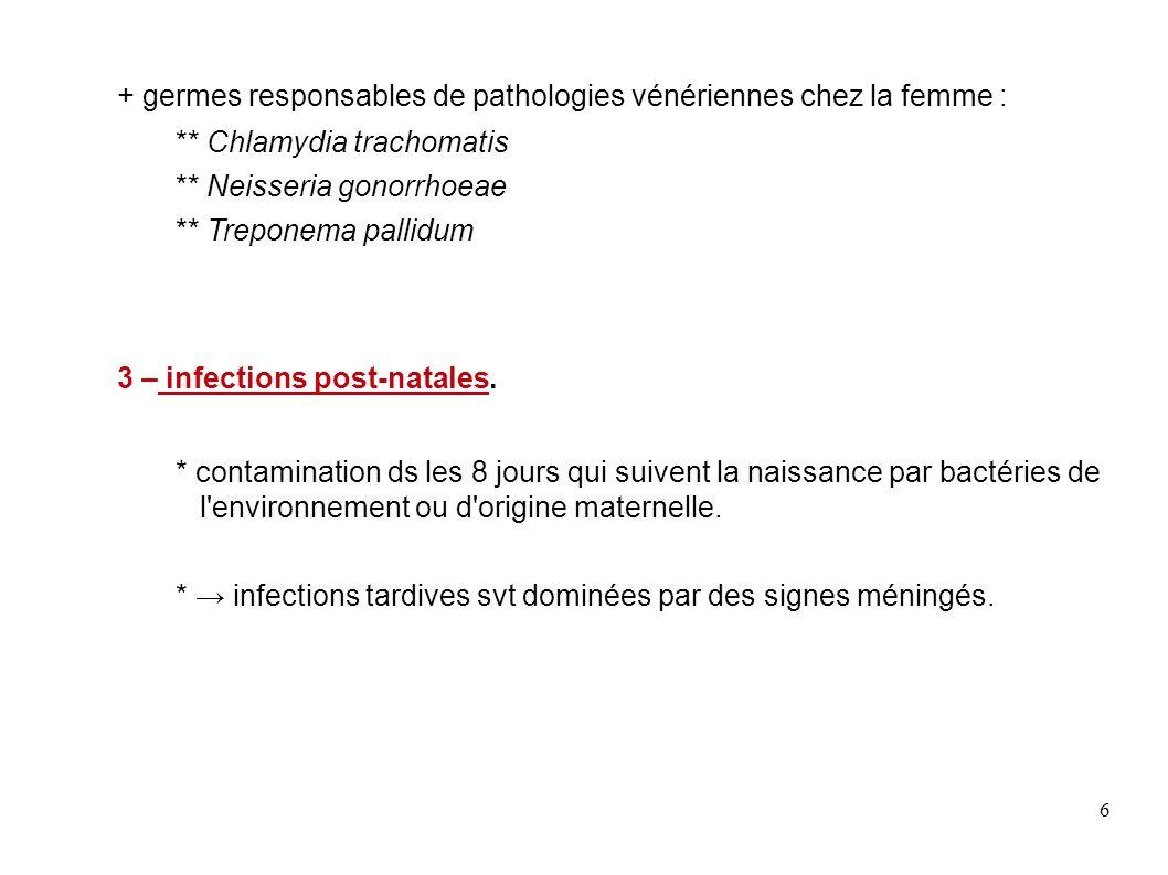 + germes responsables de pathologies vénériennes chez la femme :