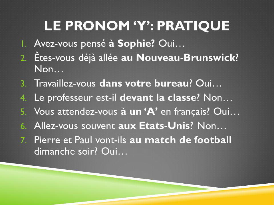Le pronom 'y': pratique