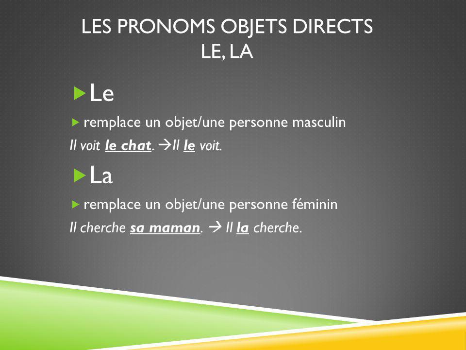 Les pronoms objets directs le, la