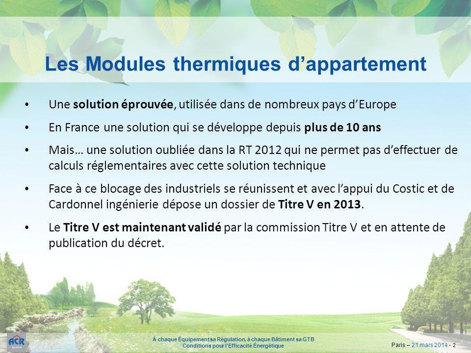 Les Modules thermiques d'appartement