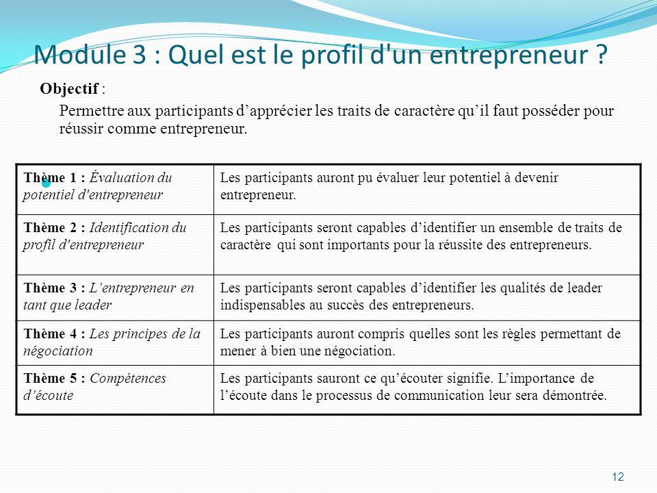 Module 3 : Quel est le profil d un entrepreneur