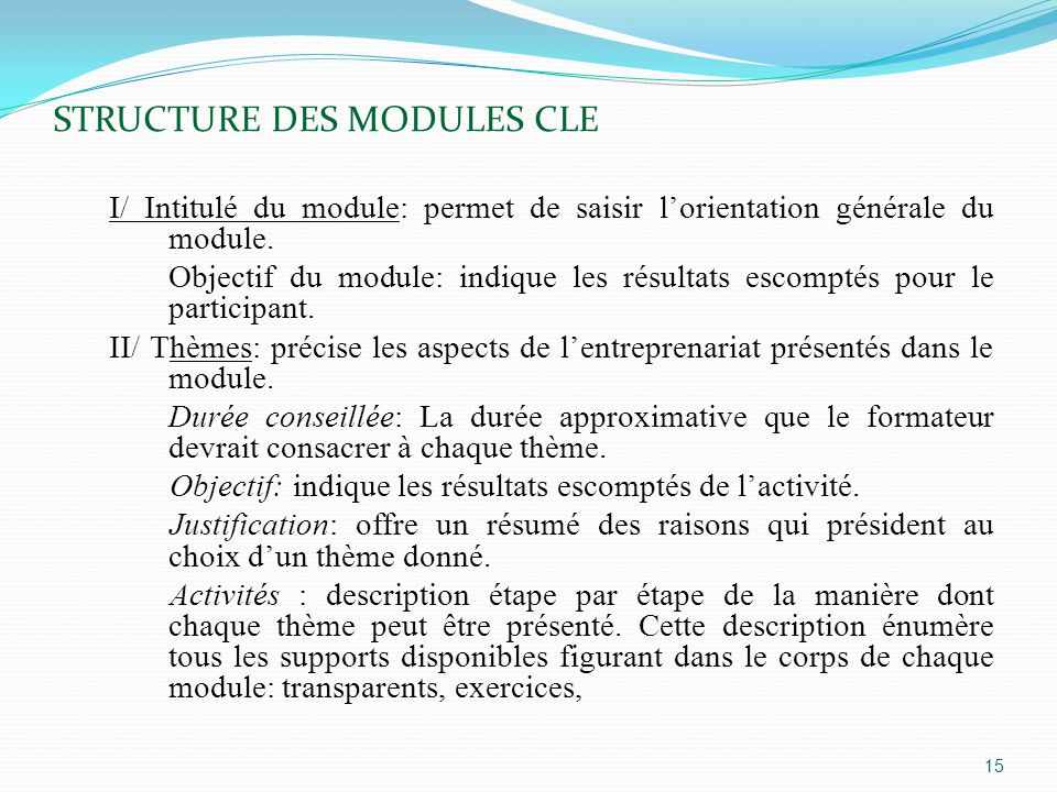 STRUCTURE DES MODULES CLE