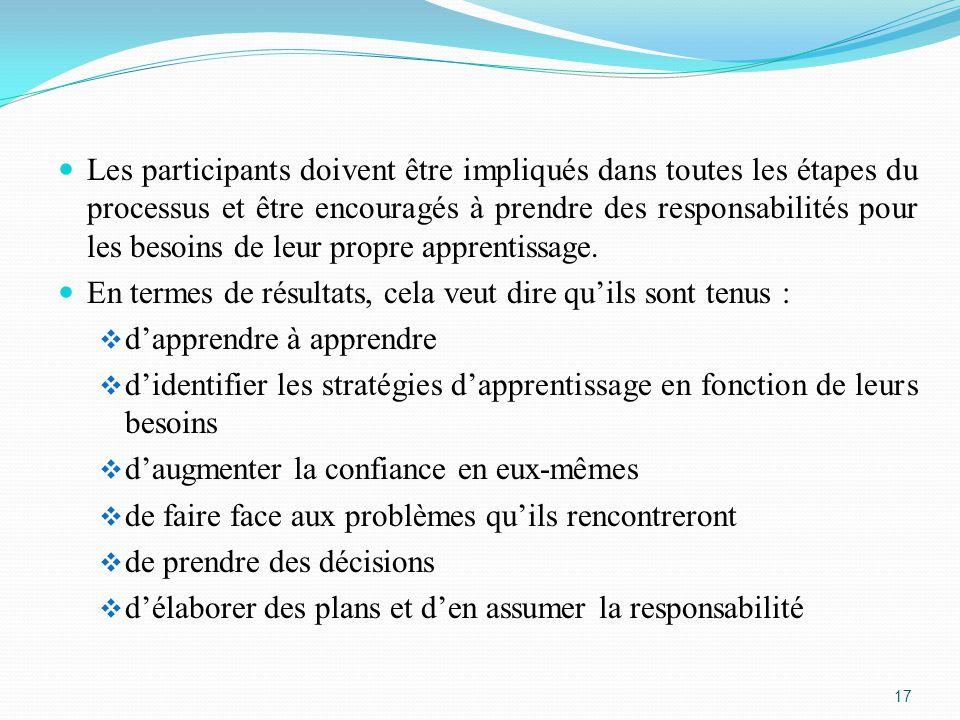 Les participants doivent être impliqués dans toutes les étapes du processus et être encouragés à prendre des responsabilités pour les besoins de leur propre apprentissage.