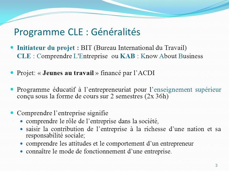 Programme CLE : Généralités